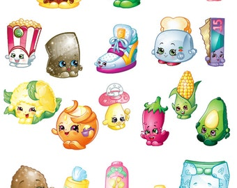 Shopkins Season 2 Removable Repositionable Fabric Wall Decal Stickers 33 Piece Set