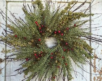 """Birch, Dock, Peppergrass & Red Berry Summer Wreath - 26"""""""