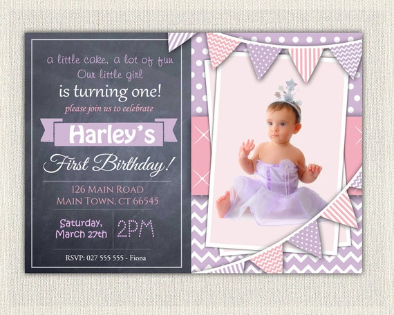 1st Birthday Invitation Purple and Pink Girls Chalkboard birthday