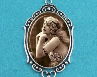 Vintage Flapper Girl Pendant Necklace