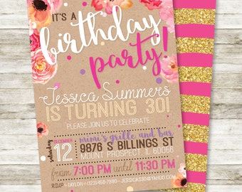 """30th Birthday Invitation for her 