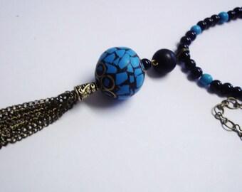 Healing Crystal, Natural Gemstone, Antique Brass, Blue Magnasite and Black Glass, Polymer Tassel Pendant Necklace