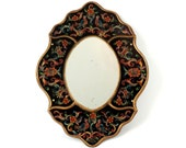 French Vintage Mirror//Vintage French Hand Painted Reverse Glass Mirror