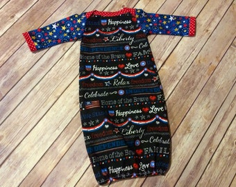 Handmade Patriotic Red, White & Blue Cotton Newborn Baby Gown