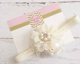Cream ivory headband or white headband // wedding flower girl headband // baptism christening headband // holiday christmas headband
