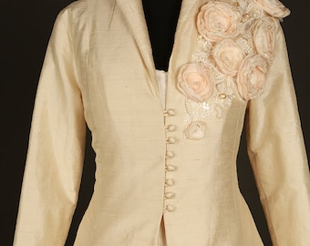 Floral champagne silk bridal coat, jacket full length, floral detail.