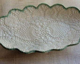 Lace and Green pearl tray