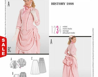 7880 Burda Style, History 1888, Victorian Gown, Bustle Gown, Jacket, overskirt, Reenactment Gown,