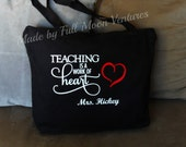 "Teacher Appreciation gift canvas bag with zipper top "" Teaching is a work of heart"" in vinyl 18""x14""x4""school tote ,customised  lap top bag"