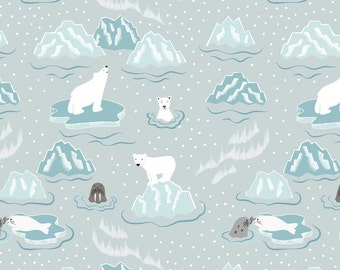 C3.2 Northern Lights Walrus and Friends Icy Grey Lewis & Irene Patchwork Quilting Fabric