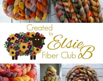 August **100% Wool** Fiber Club Subscription, 4 oz hand dyed roving, combed top, spinning fiber, CreatedbyElsieB handdyed fiber of the month