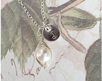 One Pea in a Pod Necklace - Single Pea in a Pod Jewelry - Sweet Pea in a Pod - One Baby - 1 Child - Only Child Wire Wrapped Necklace -