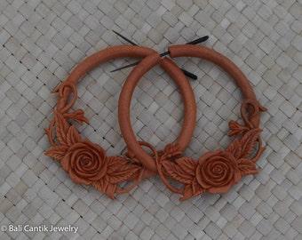 Rose Wood Stick Post Earrings, Wood Post Earrings, Saba Wood Earrings