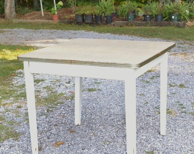 Vintage Kitchen Table Wood with Formica Top Rustic Chippy Dining Table Kitchen Island PanchosPorch