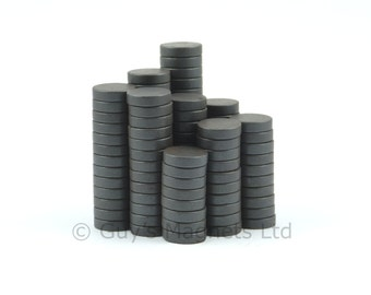 12mm x 3mm strong C8 Ceramic Ferrite round circular disk magnets (smaller quantity packs) ideal for making fridge magnets GuysMagnets