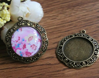 Photo glass cabochon bases pendant trays supplies 1 inch glass tiles bases 25mm circle cabochon blanks antique bronze PTR25-A3047