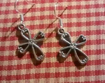 Crucifix earrings-sterling silver