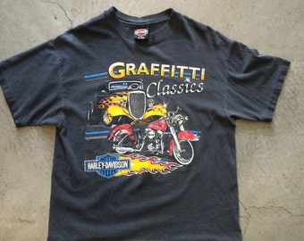 Vintage Harley Davidson Graffitti Classics Hot Rod Biker T-shirt Modesto CA