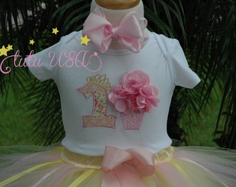 Baby girl 1st birthday tutu outfit personalized shirt dress