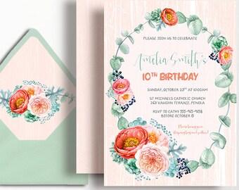 10th Birthday Invitation Peony Rustic Peach Watercolour Flowers Peonies Boho Blush Wood Succulents 1st 2nd 3rd 4th 5th 16th Sweet 16