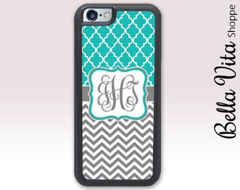 Monogram iPhone Case, Monogrammed iPhone 6 Case, Monogram iPhone 6S Case, Personalized iPhone Case, Teal Lattice Chevrons  1187 I6S
