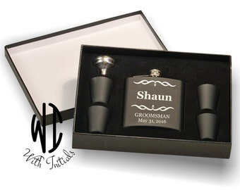 Personalized Flask, shot glasses & funnel, Monogram flask, Groomsmen Gift, Groomsmen Flask, Gift for Groomsmen, Engraved Flask, gift box.