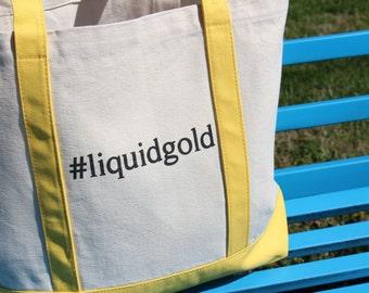 Liquidgold breastmilk tote bag, tote bag, mom, Mother's Day, breastfeeding, nursing, #liquidgold