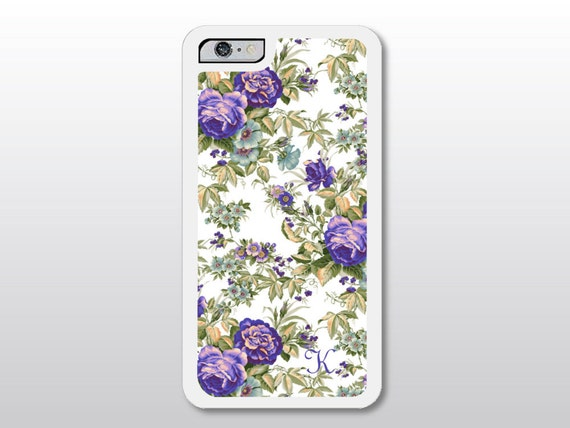 ... Case with Monogram - Purple Roses iPhone Case - Monagrammed Gift for