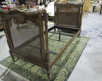 Carved Wood & Cane Maitland Smith Daybed