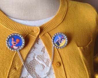 Vintage Halloween Pin Up Girl Witch Sweater Guard/Brooch/Pin/Fall Accessories/October/Autumn/Cardigan/Jewelry/Spooky/Witchy/Rockabilly/Pinup