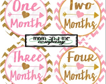 Gold and Pink Glitter Baby Girl Monthly stickers Baby month stickers baby Shower gift Month baby sticker Months 1-12 stickers Month decals