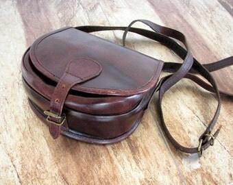Indiska Vintage leather handbag Small handmade leather purse dark chocolate brown leather shoulder bag CROSSBODY purse for her bohemian bag