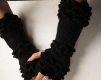 Fingerless gloves, Knitted black, merino wool long  Fingerless crocodile stick Woman   Arm Warmers, winter accessory black long  gloves