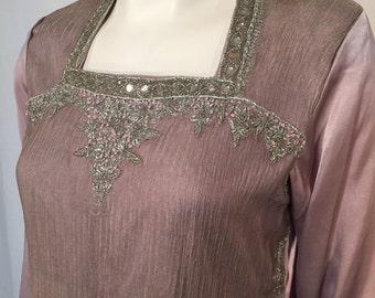 Vintage Indian Kurti Tunic Lavender Purple with Silver Metal Leaves Long Sleeve Small S