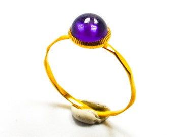 Gold Amethyst Knuckle Ring