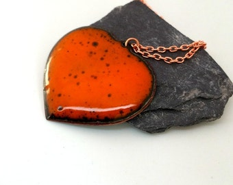 Orange Necklace - Orange Enamel Heart Pendant - Heart Copper Pendant - Copper Enamel Pendant - Heart Statement Necklace - Halloween Jewelry