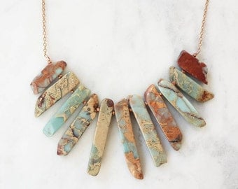Copper and Branched Snake Jasper Necklace [Clearance]