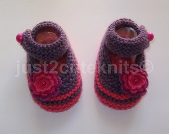 Hand Knitted Baby Girl Booties