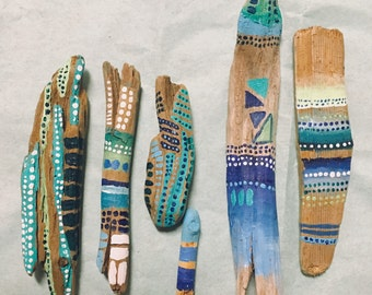 Assorted sets of 2 spirit sticks hand painted driftwood minis /// bohemian art decor