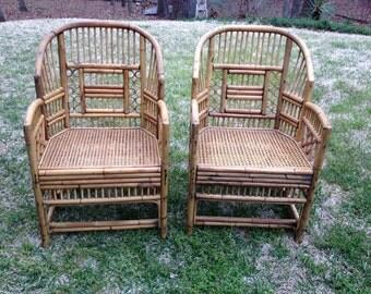 Vintage bamboo brighton chairs - a pair