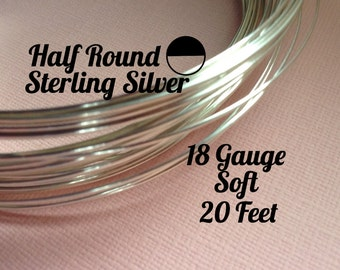 15% Off Sale! Sterling Silver Wire, HALF ROUND 18 Gauge, Soft, 20 Feet, WHOLESALE