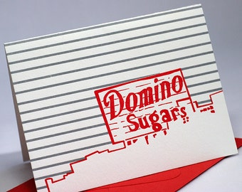 Baltimore Letterpress Card | Domino Sugars Sign | red & gray single blank card with envelope