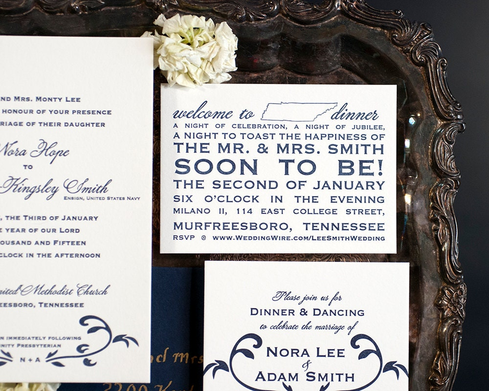 Letterpress Wedding Invitation Suite with Website Card ...