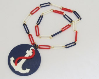 Vintage Jewelry Blue,Red, White Anchor Lucite Necklace 30''