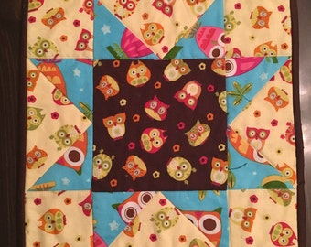 Owl table topper or small wall hanging