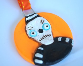Halloween Skeleton Disc Ornament in orange made from Polymer Clay Gift