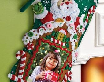 "Bucilla ~ ""Gingerbread Picture Frame"" Felt Christmas Stocking Kit #86411 DIY"