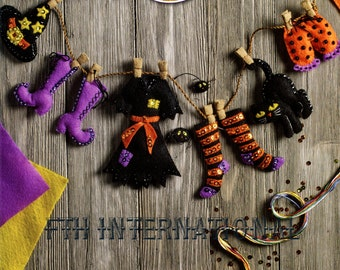 Bucilla Witch's Laundry Line Garland ~ Felt Halloween Decor Kit #86688 Hat, Cat DIY