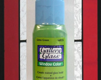 Plaid Gallery Glass Paint 16035 - 2 oz. Lime Green ~ Create a Stained Glass Look