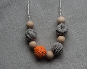 Grey Linen Crochet Nursing Necklace - Breastfeeding Necklace - Teething necklace with crochet beads eco friendly